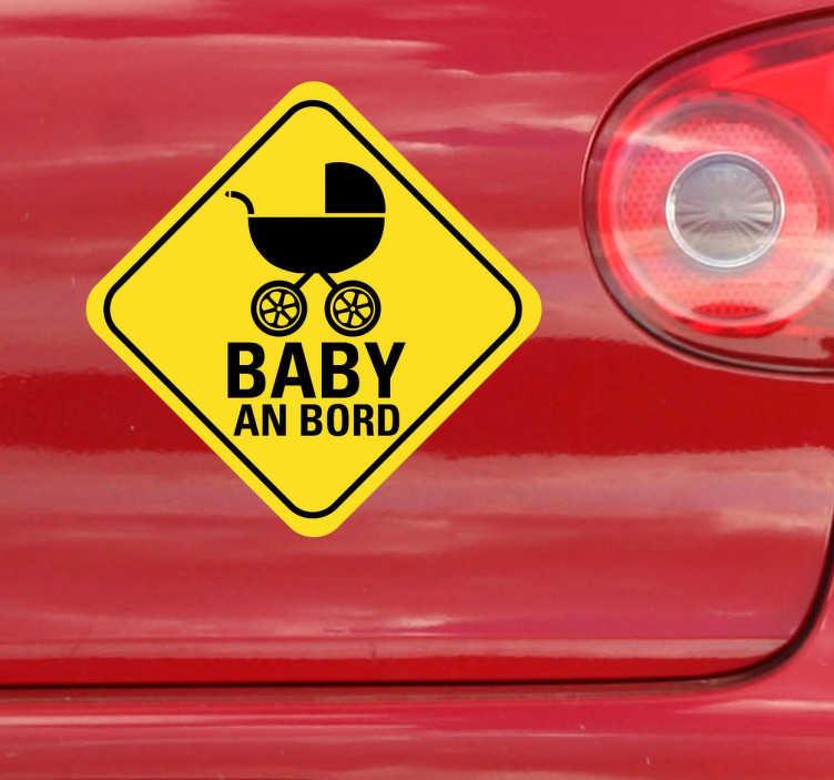 TenStickers. Autoaufkleber Baby im Auto. Haben Sie ein Baby im Auto? Mit diesem besonderen Sticker können Sie auf Ihren kleinsten Mitfahrer hinweisen.