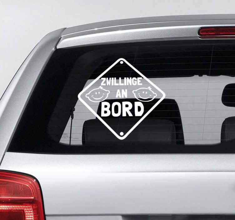 TenStickers. Zwillinge an Bord Aufkleber. Haben Sie Zwillinge im Auto? Dann ist dieser Sticker genau das Passende für Sie.