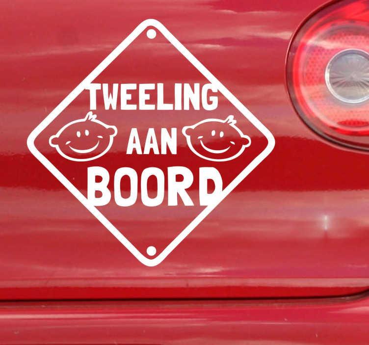 TenStickers. Sticker tweeling aan boord. Maak de bestuurders rondom u duidelijk dat u een tweeling aan boord van uw wagen hebt. Een leuke decoratie sticker voor uw wagen.