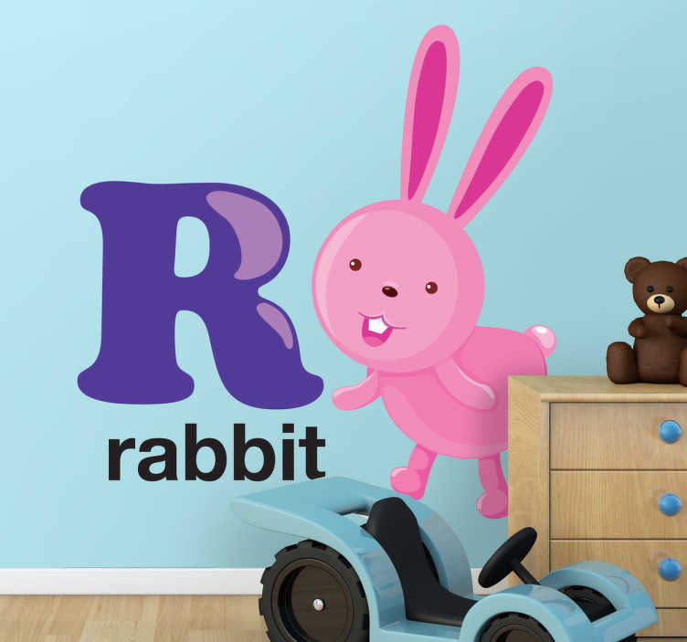 TenStickers. R for Rabbit Kids Sticker. Everyone loves rabbits so why not use this fantastic letter decal of the letter R from our collection of rabbit wall stickers.