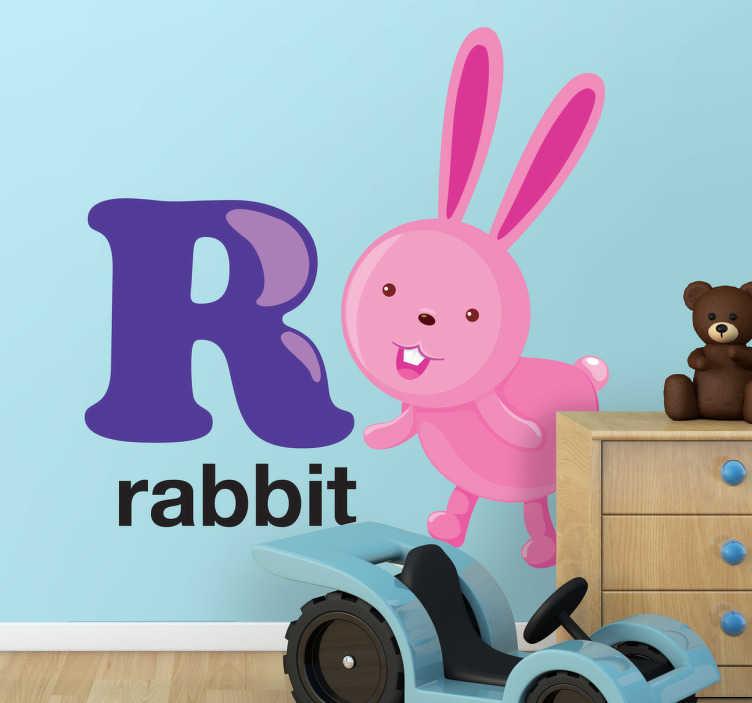 TenVinilo. Vinilo decorativo letra R. Vinilo decorativo infantil de las letras del abecedario acompañadas por dibujos animados. Un divertido conejo rosa de largas orejas con la letra R.