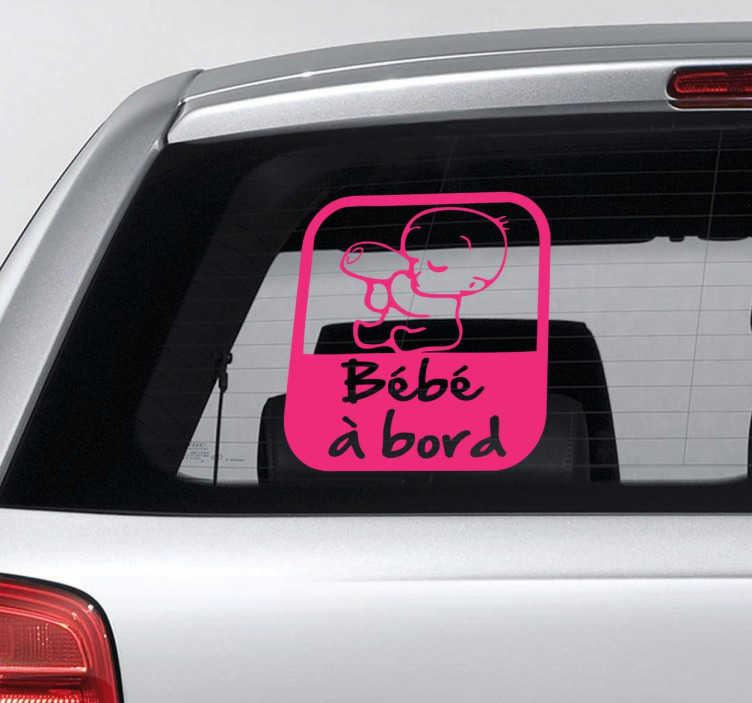 TenStickers. Sticker bébé à bord dessin. Un sticker original et moderne pour indiquer aux autres conducteurs que vous n'êtes pas seul à bord de votre véhicule.