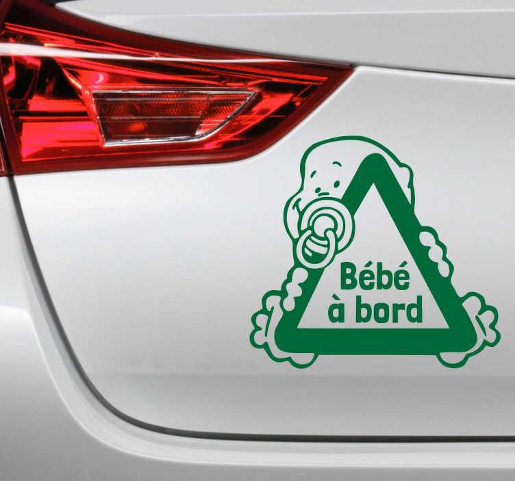 TenStickers. Sticker bébé à bord triangle. Un sticker original et attendrissant pour indiquer aux autres usagers de la route que bébé se promène avec vous à bord de votre voiture.