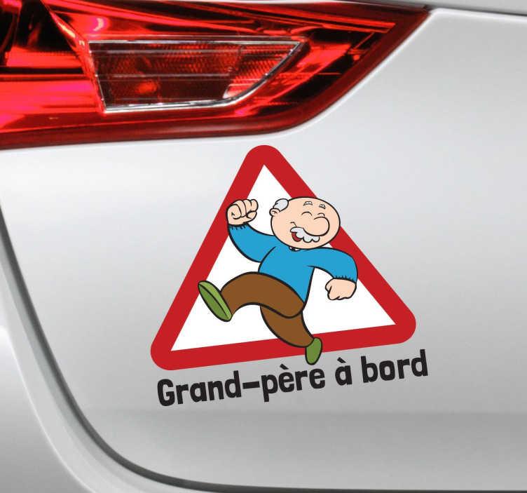 TenStickers. Sticker grand-père à bord. Un sticker original et amusant pour signaler aux autres conducteurs que papi voyage avec vous !