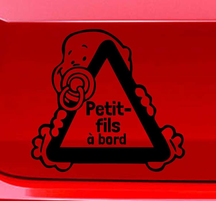 TenStickers. Sticker petit-fils à bord dessin. Vous êtes gaga de votre petit-fils et vous l'emmenez partout avec vous ? Signalez aux autres conducteurs que bébé voyage avec vous à bord de votre véhicule grâce à ce sticker moderne et original.