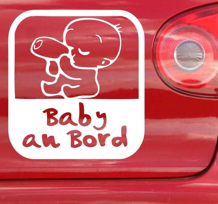 TenStickers. Vinilo advertencia bebé cocheDE. Dieser Sticker ist ideal für Ihr Familienauto.