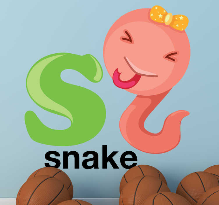 """TenStickers. Letter S Snake Kids Sticker. Kids Stickers - Alphabet themed design. The letter """"S"""" accompanied a playful and cheeky snake.  Great for personalising kids´bedrooms."""