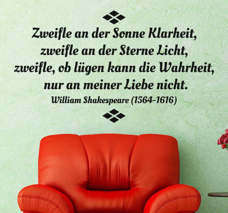 TenStickers. Liebeszitat Shakespeare Aufkleber. Dieses romantische Gedicht stammt von William Shakespeare. Dieses Wandtattoo ist ideal für alle Verliebten.