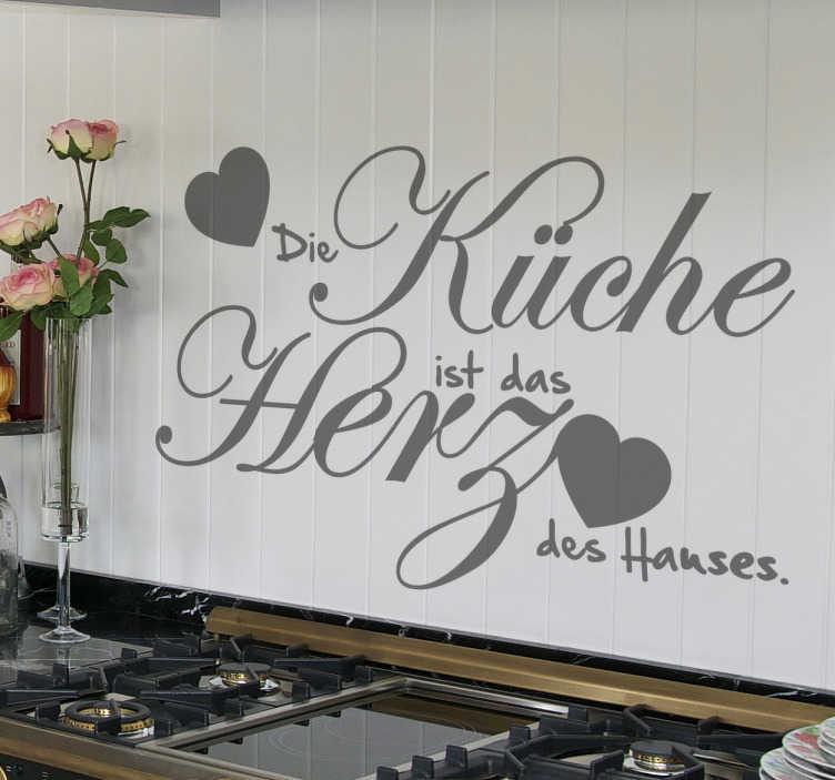 TenStickers. Küche Herz des Hauses Aufkleber. Sprüche für die Küche. Die Küche ist das Herz des Hauses. Verzieren Sie Ihre Küche mit diesem besonderen Text Wandtattoo.