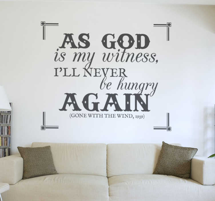 TenStickers. Gone With The Wind Wall Sticker. Wall Stickers - A quote from the classic movie Gone With The Wind. Famous movie lines and quotes.