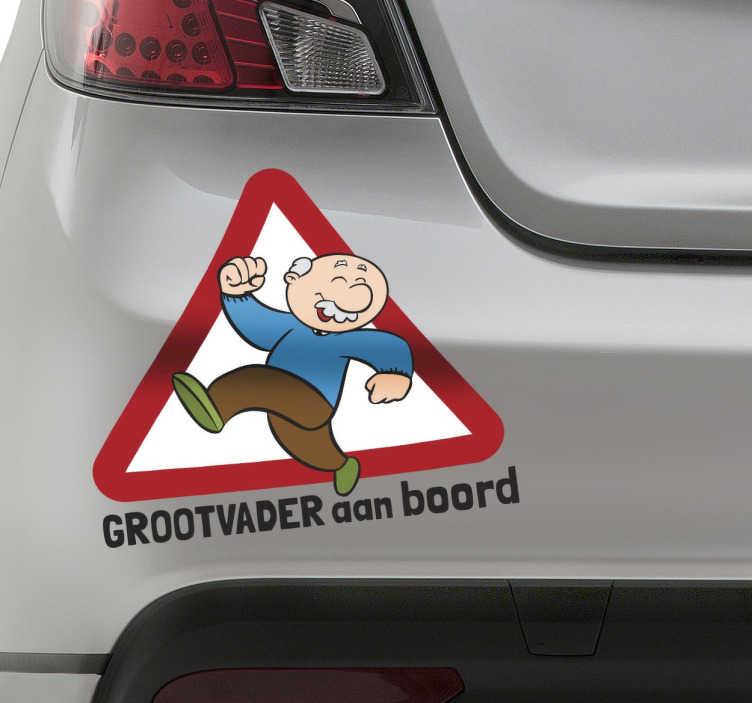 TenStickers. Sticker grootvader aan boord auto. Een leuke en grappige decoratie sticker voor op de wagen! Geef aan met deze leuke sticker dat je opa zich in de auto bevindt.