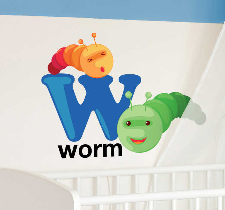 TenStickers. Sticker kinderkamer letter W. Muursticker van de hoofdletter W met hierbij het woord en de afbeelding van een WORM. Decoratie sticker voor de slaapkamer of kinderkamer.