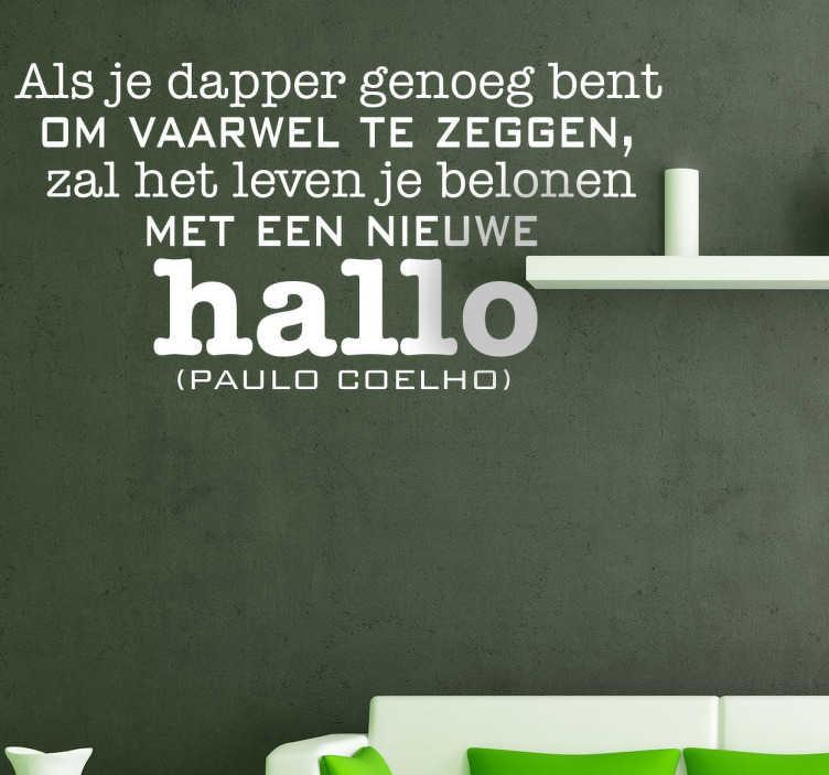 TenStickers. Sticker Decoratie vaarwel Coelho. Een leuke muursticker met een vertaling van een quote van de bekende Braziliaanse schrijver; Paul Coelho.