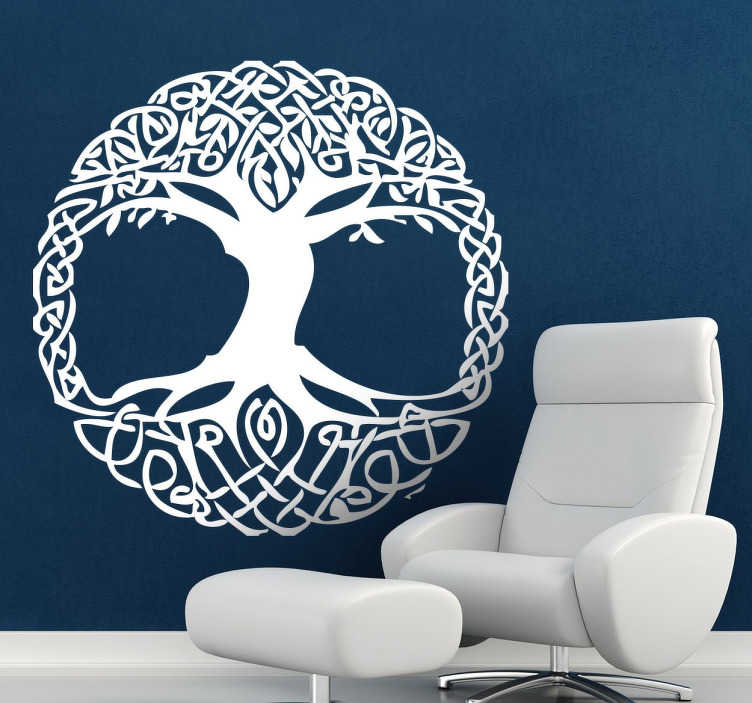 TenStickers. Celtic Tree Wall Sticker. Celtic tree wall sticker perfect for decorating your bedroom, living room and more! Monochrome wall sticker available in various sizes and 50 different colours.