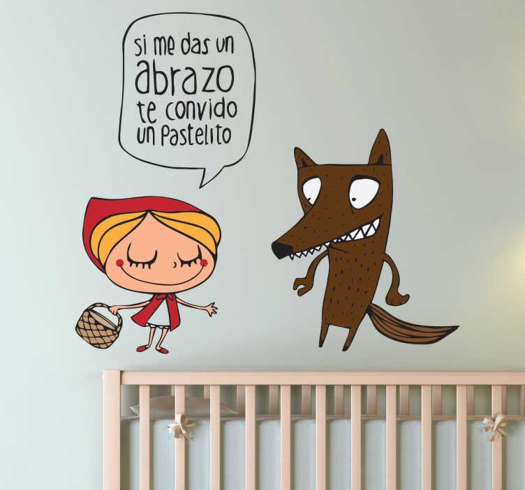 Vinilo infantil caperucita y lobo