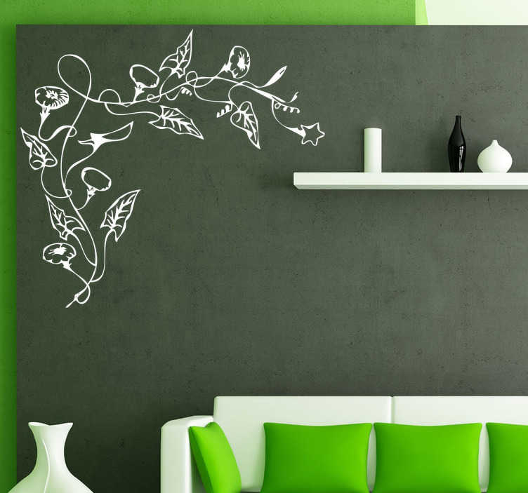 TenStickers. Floral Vine Corner Decal. Decals - Elegant and sophisticated design to place in the dull corners of your home or business. Available in various sizes and in 50 colours.