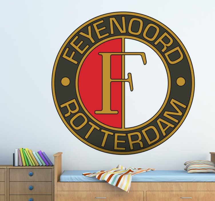 TenStickers. Sticker Feyenoord Rotterdam logo. Deze voetbal sticker van de club uit Rotterdam is perfect voor de Feyenoord fan. Breng voetbalsfeer naar jouw woning met deze sticker!