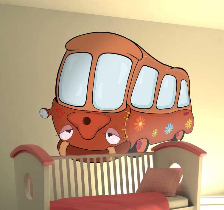 TenStickers. 아이를위한 학교 버스 벽 스티커. 만화 스타일과 어린이 침실 벽 예술 스티커. 원래 선물을위한 재미 있고 귀여운 그림 벽 스티커.