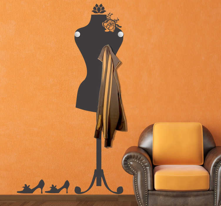 TenStickers. Mannequin Coat Rack Sticker. An original and elegant way to turn your wall into an elegant coat hanger.