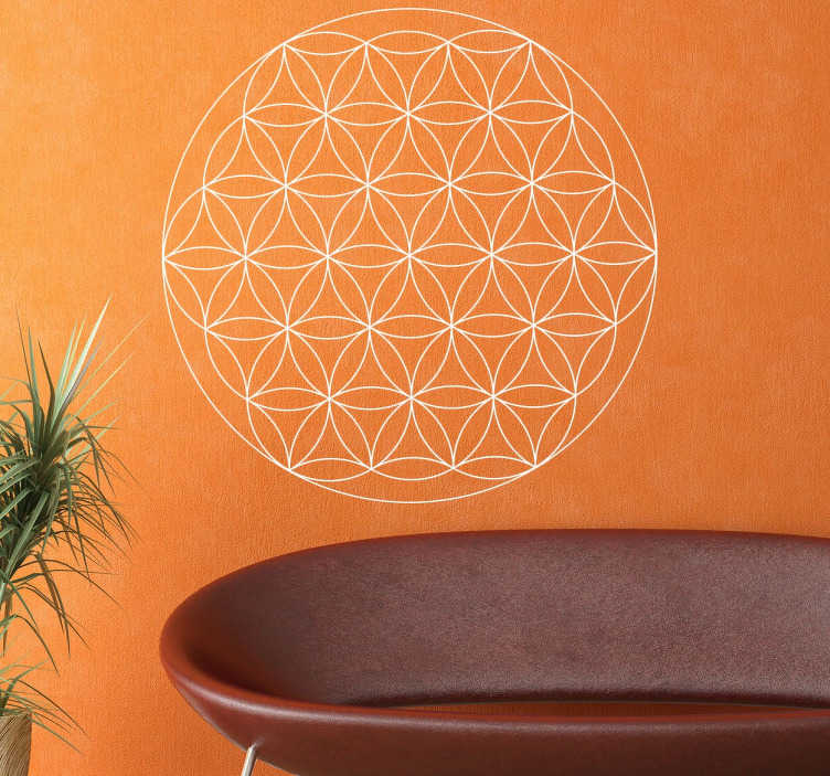 TenStickers. Flower of Life Sticker. Decorative flower of life wall sticker. A geometric wall decal composed of 19 full circles of the same diameter overlapping. An artistic way of decorating your home or business. This interesting design is available in multiple sizes and 50 different sizes.