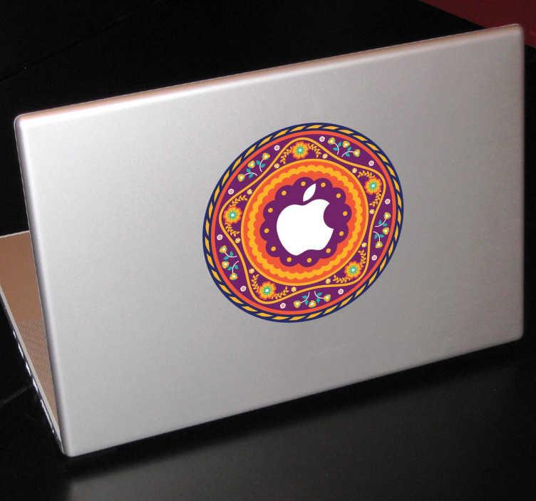 TenStickers. Macbook aufkleber Mandala. Dekorieren Sie Ihr Macbook mit diesem schicken Aufkleber im Design eines orientalischen Mandalas.