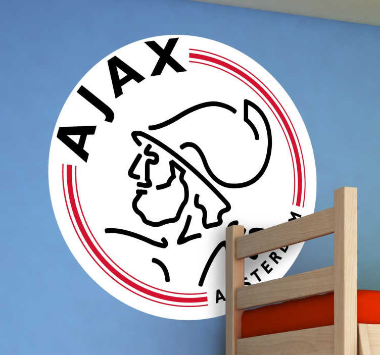 TenStickers. Muursticker Logo Ajax voetbal. Een mooi Ajax logo aan de muur. Deze muursticker is perfect voor alle voetbalfans.