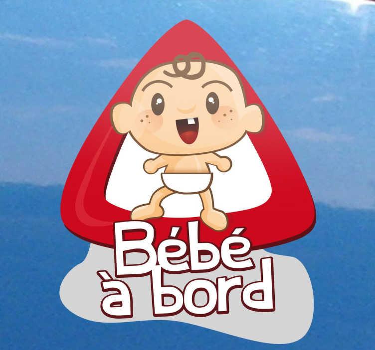 TenStickers. Sticker bébé à bord moderne. Indiquez aux autres usagers de la route que vous n'êtes pas seul en voiture et que bébé vous accompagne grâce à cet original sticker pour voiture.