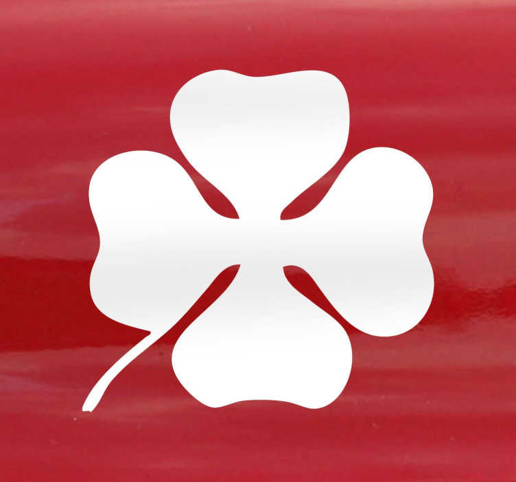 TenVinilo. Vinilo decorativo Alfa Romeo trébol. Adhesivo monocolor con el perfil silueteado de un trébol de cuatro hojas, símbolo de la suerte e icono de esta marca de vehículos.