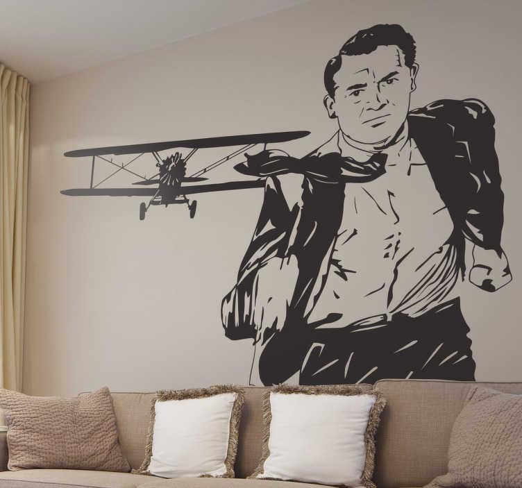 TenStickers. Sticker scène avion Hitchcock. Cinéphile et fan d'Alfred Hitchcock ? Personnalisez votre décoration avec ce sticker de l'une des scènes mythiques du célèbre film La mort aux trousses avec Cary Grant.
