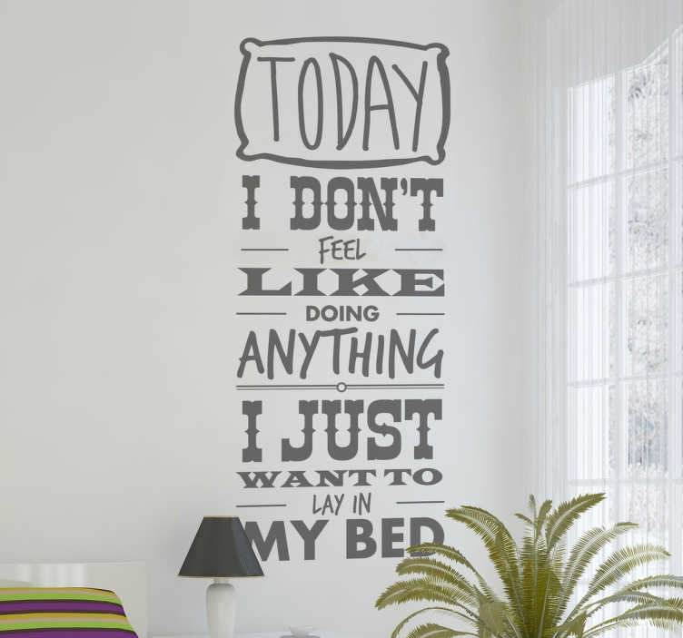 TenStickers. Bruno Mars Lazy Lyrics Sticker. This wall sticker of a song by the American singer, songwriter and record producer Bruno Mars is ideal for true fans of him and his music.