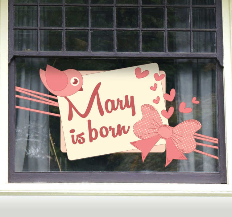 TenStickers. New Baby Girl Sticker. In some countries the birth of a child is announced by placing a sign in the window. Get this customized sticker so you can share the good news.