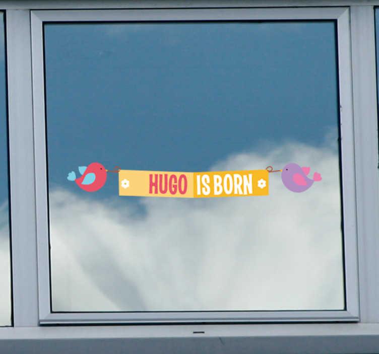 Naklejka narodziny dziecka i ptaszki