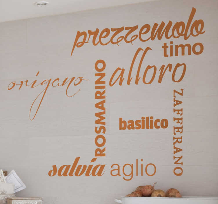 TenStickers. Stencil muro condimenti italiano. Sticker murale che riporta alcuni dei condimenti caratteristici della cucina mediterranea. Decorazione adesiva pensata per decorare la tua casa.