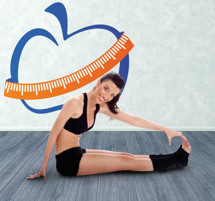 TenStickers. Autocolante decorativo maçã fitness. Autocolante decorativo inspirado no tema fitness, ilustrando uma maçã com uma fita métrica, a medir a sua cintura.