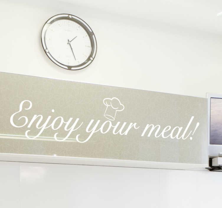 TenStickers. Naklejka enjoy your meal. Naklejka dekoracyjna na ścianę z napisem 'enjoy your meal' do wszystkich kuchennych przestrzeni. Umieść dekorację w jadalni lub kuchni.