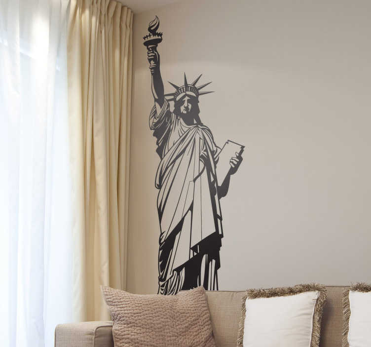 TENSTICKERS. 自由の女神の壁のステッカーのステッカー. 世界で最も有名なモニュメントの1つ、象徴的なニューヨークの壁のステッカー。このナイフウォールデカールは、さまざまなサイズと色で利用できるアメリカに移民を歓迎する素晴らしい像を示しています。