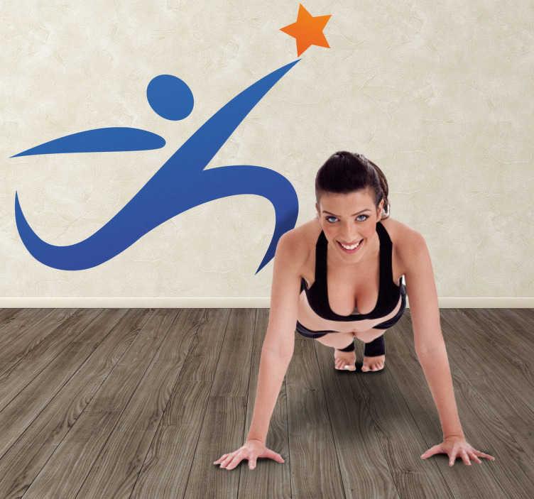 TenStickers. Naklejka ikona sport. Naklejka na ścianę przedstawiająca biegnącą sylwetkę. Idealny pomysł na dekorację pokoju sportowców, czy też ozdobę wnętrz w branżach związanych ze sportem.
