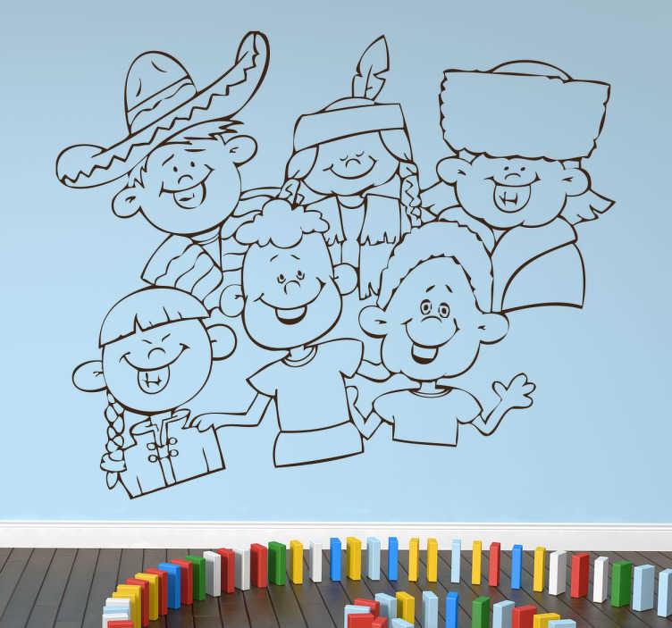 TenStickers. Kinderen van verschillende landen sticker. Maak je huis meer internationaler met deze muursticker! Je ziet zes kinderen van verschillende landen op deze internationale sticker!