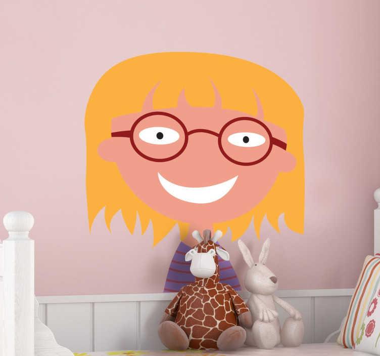 TenStickers. Wandsticker Meisje met Bril. Decoreer uw kinderkamer of speelkamer met deze grappige illustratie van een meisje met een brilletje.