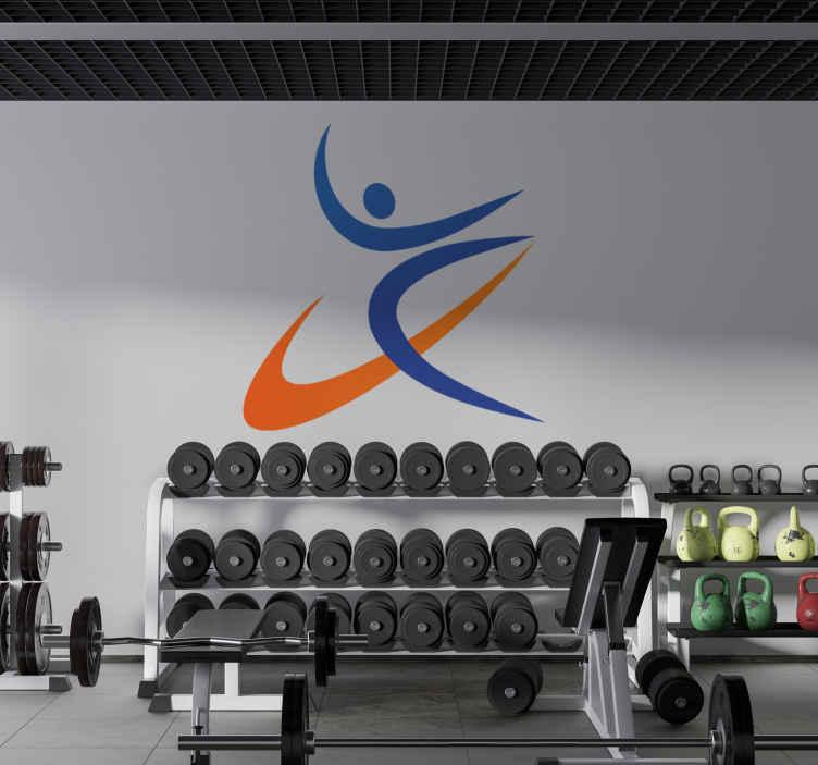 TenStickers. Vinil decorativo ilustração ginasta. Vinil decorativo de uma ilustração de uma ginasta artística de solo a fazer os seus exercícios. Adesivo de parede ideal para decoração de interiores.