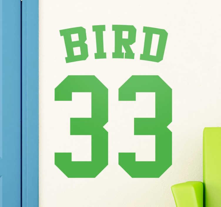 TenStickers. Sticker Larry Bird. Ancien fan de la NBA et des Celtics de Boston ? Votre joueur favori portait le numéro 33 pendant les années 80 ? N'attendez plus, ce sticker est fait pour vous !