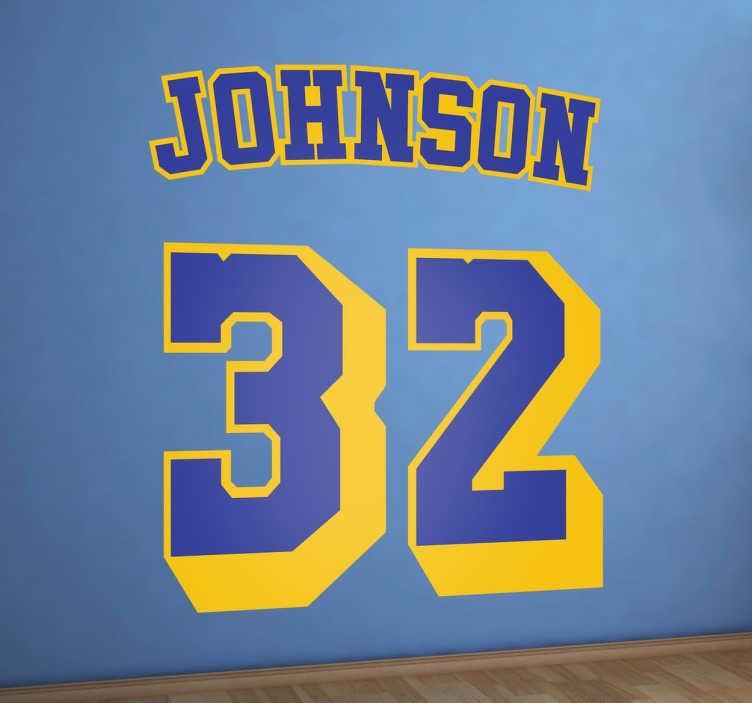 TenStickers. Sticker Magic Johnson. Fan de la NBA depuis des décennies et des Angeles Lakers des années 80 ? Votre joueur favori jouait avec le numéro 32 ? Ce sticker est fait pour vous, n'attendez plus et personnalisez votre décoration.