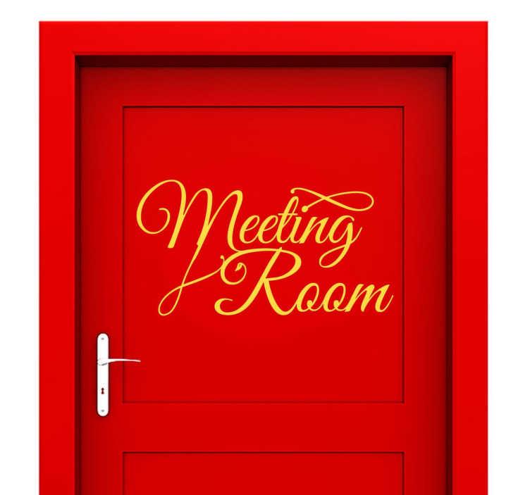 TenStickers. Sticker meeting room. Indiquez la salle de réunion de votre entreprise en décorant la porte avec cet élégant sticker en anglais. Une calligraphie originale et raffinée pour une décoration unique.