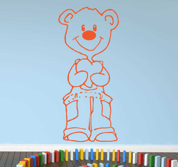 TenStickers. Bear With Heart Sticker. A cute drawing of a smiling bear that is clutching a love heart, a sticker that will look great in your child's bedroom.
