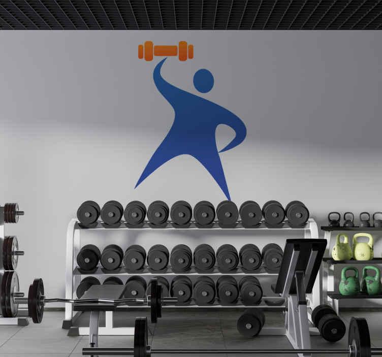 TenStickers. Sticker symbool dumbell halter. Een leuke muursticker van een blauw mannetje dat een oranje halter optilt. Leuke wanddecoratie voor de versiering van uw winkel, sportzaal of woning.