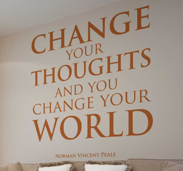 TenStickers. Norman Vincent Quote Wall Sticker. Wall Quote Art - A quote from Norman Vincent reminding us that the power of our thoughts can have an impact on the world.