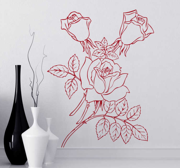 TENSTICKERS. ローズステムアウトラインデカール. デカール-バラの茎の概要図。壁、窓、電化製品などの改造に最適です。使いやすい高品質のビニール製