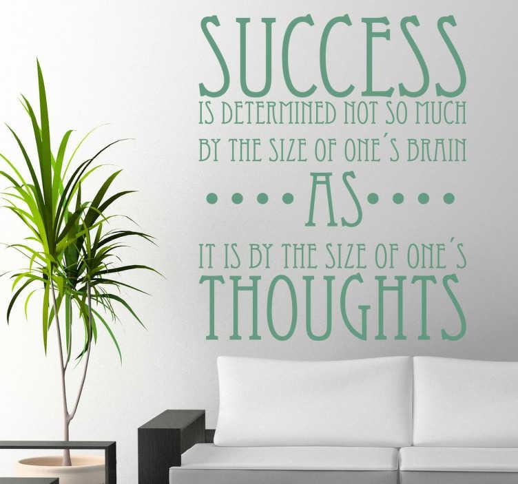 """TenStickers. Naklejka przepis na sukces. Cytat pochodzący z książki """"Magia myślenia na wielką skalę"""" David'a J. Schwartz'a."""