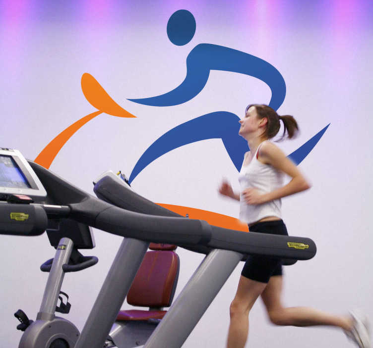 TenStickers. Sports Icon Wall Sticker. Wall Decals - Get Active! Get Fit! Icon design silhouette of a person running on the treadmill. TenStickers sports wall stickers are ideal for gyms