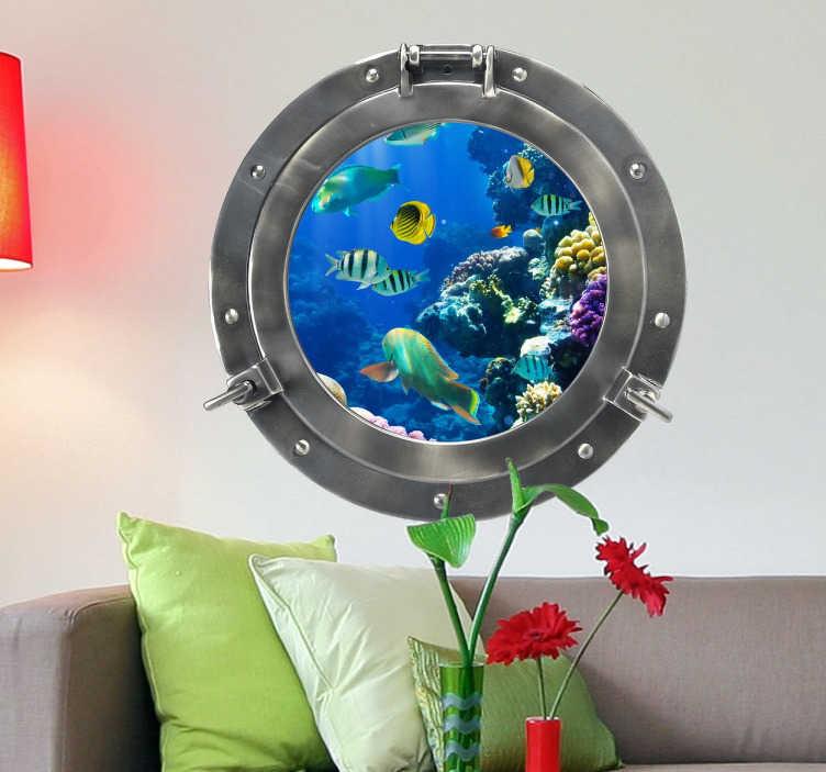 TenStickers. Naklejka łódź podwodna. Naklejka dekoracyjna przedstawiająca okno z łodzi podwodnej na podwodny świat, w którym możesz umieścić swoją własną ilustrację.